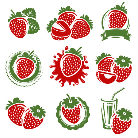 layout strawberry: Strawberries set. Vector