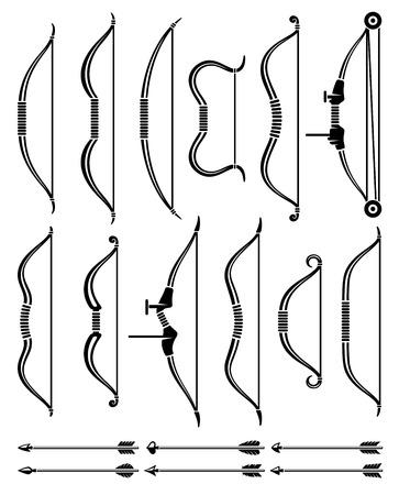 bow arrow: Bow and arrow set. Vector Illustration