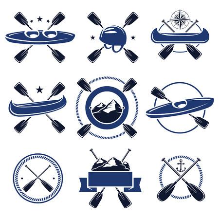 ocean kayak: etiquetas de pádel y elementos expuestos. Vector