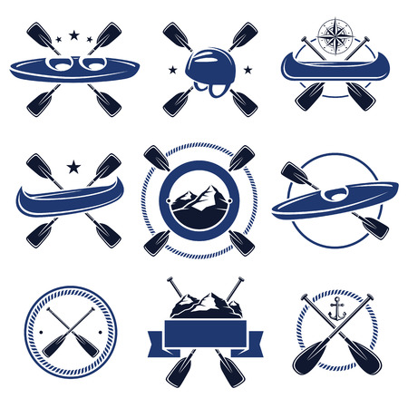 kayaking: paddle labels and elements set. Vector