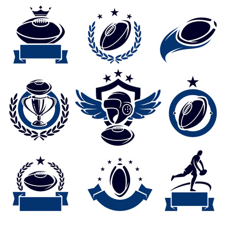rugby team: Rugby labels and icons set. Vector