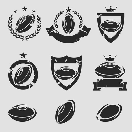 pelota rugby: Etiquetas de Rugby y iconos conjunto. Vector