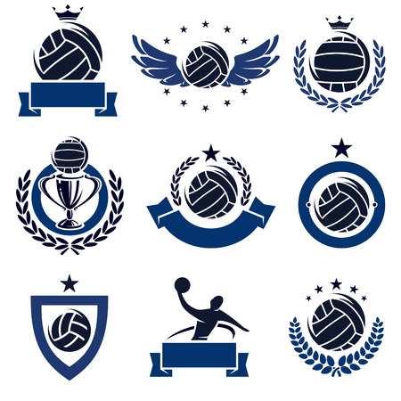 all seasons: water polo labels and icons set. Vector Illustration