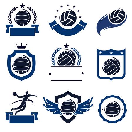 waterpolo: etiquetas de waterpolo y iconos conjunto. Vector Vectores