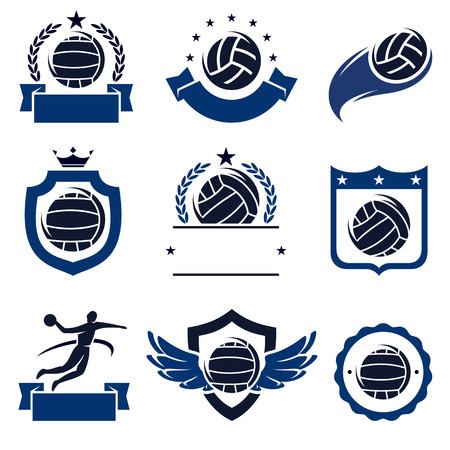 water polo: water polo labels and icons set. Vector Illustration
