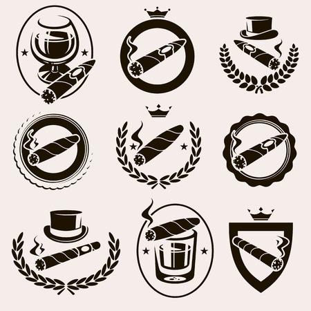 cigarro: Cigarros etiqueta y iconos conjunto. Vector