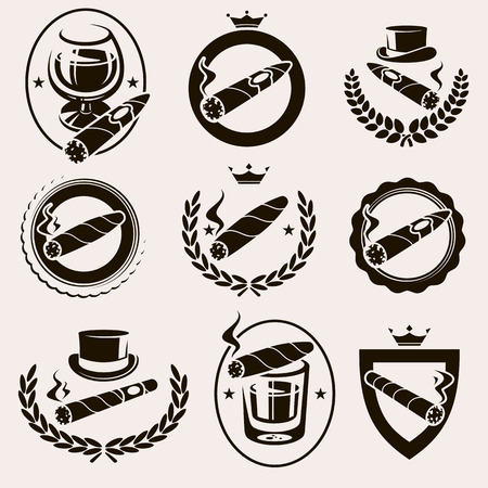 Cigars label and icons set. Vector Vettoriali