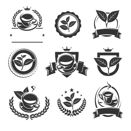 Tea labels and icons set. Vector Illustration