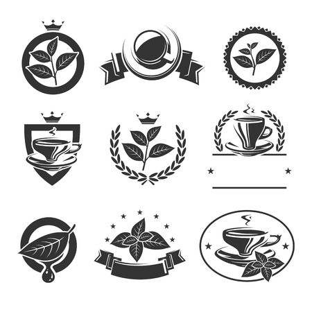 Tea labels and icons set. Vector Vector