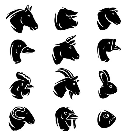 head icon: Farm animals set. Vector