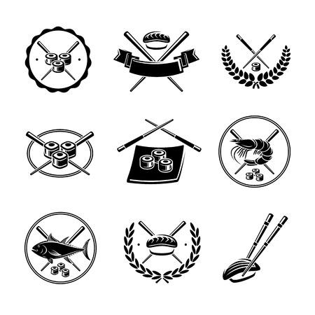 Sushi labels and elements set. Vector Illustration