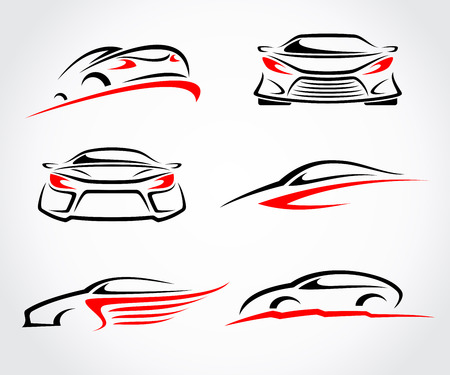 Cars abstract set. Vector Çizim
