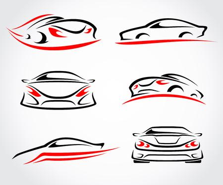 Cars abstract set. Vector Stock Illustratie