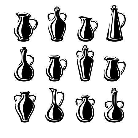 milk jugs: Jugs set. Vector Illustration