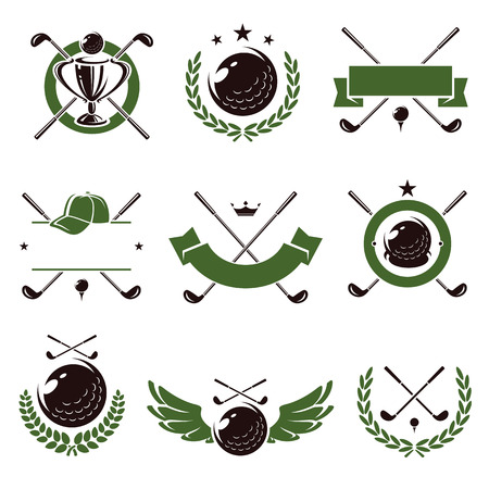 Etiketten en pictogrammen golfset. Vector Stock Illustratie