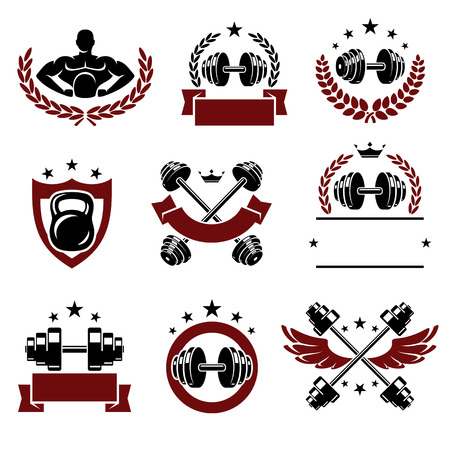 lifting weights: Fitness labels and icons set. Vector illustration Illustration