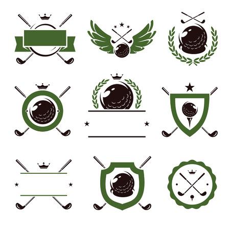 Etiketten en pictogrammen golfset. Vector illustratie