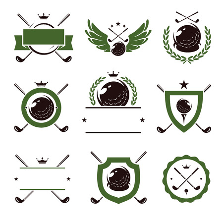 Golf labels and icons set. Vector illustration Çizim