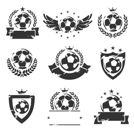 ballon foot: Football et de soccer des étiquettes et des icons set. Vector illustration