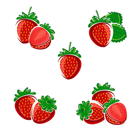 Strawberries set. Vector