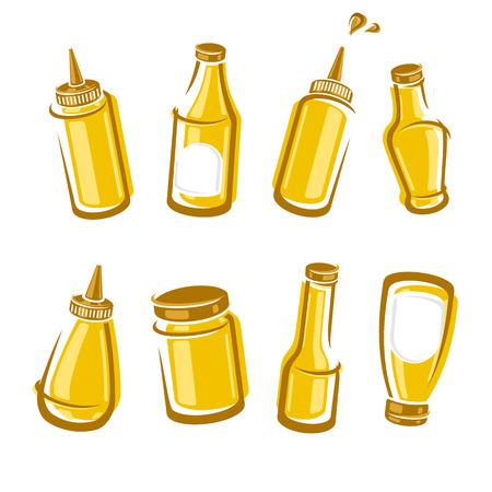 mustard: Bottles mustard set. Vector illustration Illustration