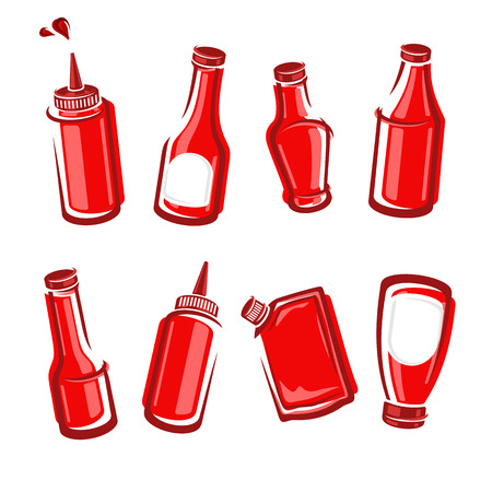 glass bottle: Bottles ketchup set. Vector illustration