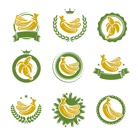 skin color: Bananas labels and elements set. Vector