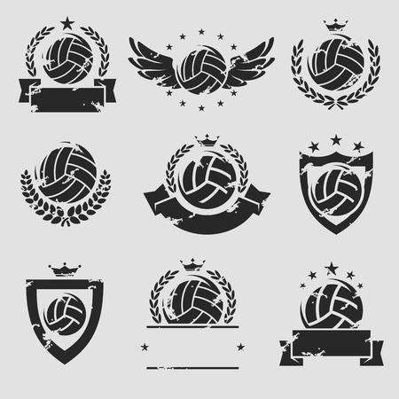 voleibol: Etiquetas de Voleibol y iconos conjunto. Vector