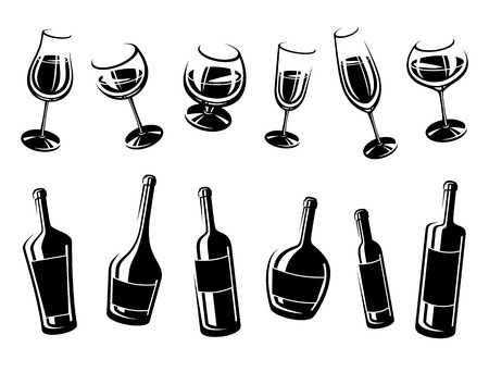 illustration collection: Alcoholic glass collection. Vector illustration