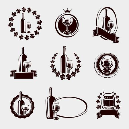 wine grape: Wine labels set. Vector illustration Illustration
