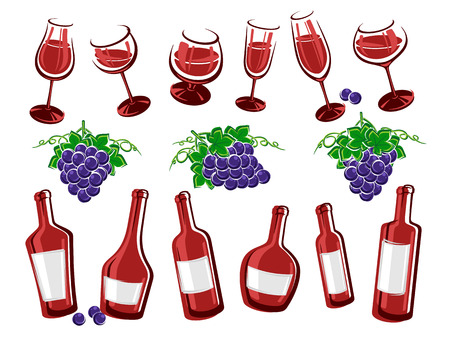 red grape: Alcoholic glass collection. Vector illustration