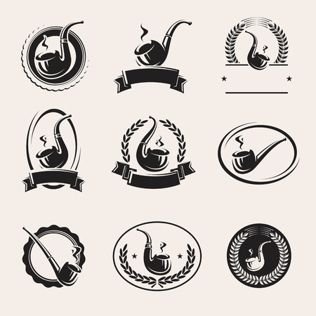 pipes: Tobacco pipes labels set. Vector Illustration