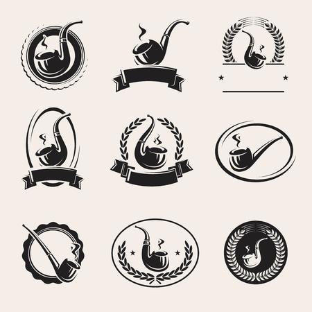 tobacco: Tobacco pipes labels set. Vector Illustration
