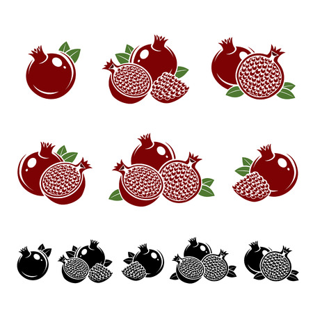 pomegranate juice: Pomegranate set. Vector Illustration