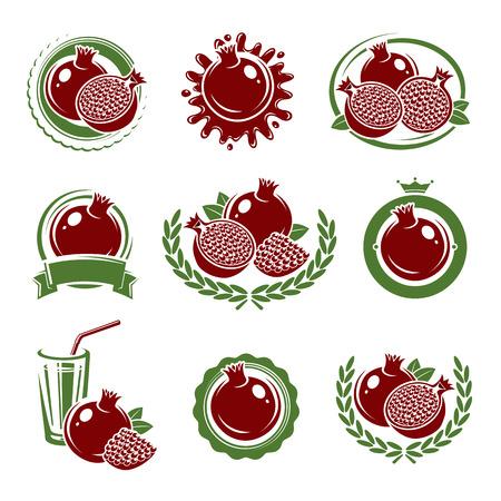 pomegranate juice: Pomegranate labels and elements set. Vector