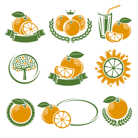 orange juice: Oranges labels and elements set. Vector illustration Illustration