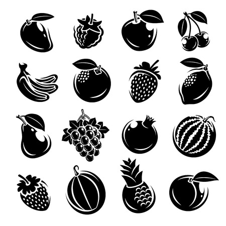 Collection of fruits set. Vector illustration fruit