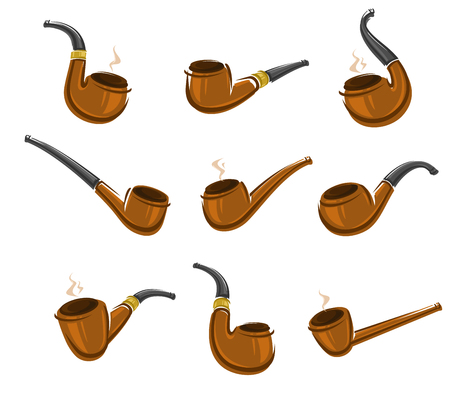 tobacco product: Tobacco pipes set. Vector illustration