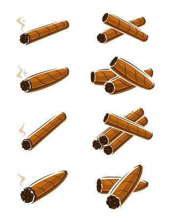 leaf illustration: Cigars set. Vector collection illustration