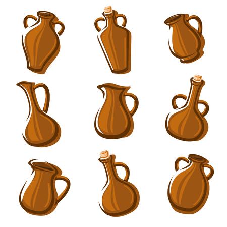 jugs: Jugs collection set. Vector illustration