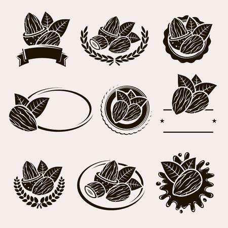 almonds: Almonds labels and elements set. Vector illustration