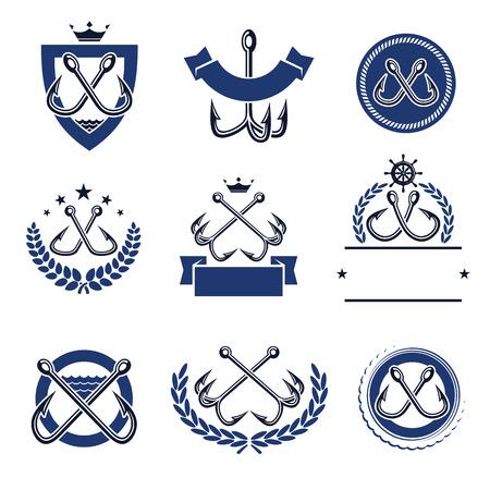 entice: Fishing hooks labels and elements set. Vector illustration