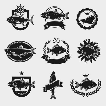 Francobolli e le etichette dei pesci hanno impostato. Illustrazione vettoriale