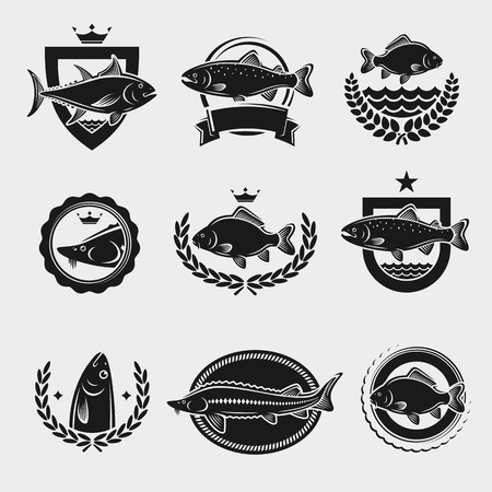 Francobolli e le etichette dei pesci hanno impostato. Illustrazione vettoriale Vettoriali