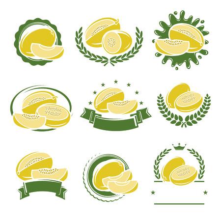 melon: Melon labels and elements set. Vector illustration