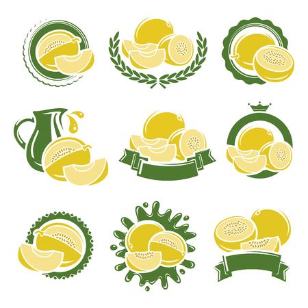 Melon labels and elements set. Vector illustration