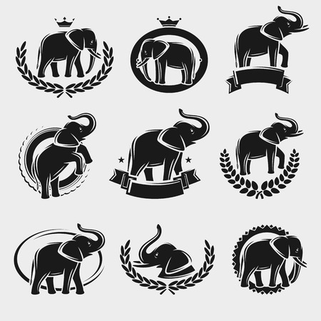 Elephant label and icons set. Vector animal Иллюстрация