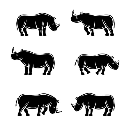 hunted: Rhinoceros set. Vector illustration isolated