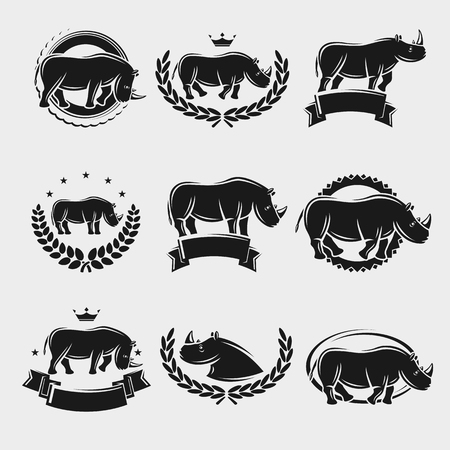 hunted: Rhinoceros label and icons set. Vector illustration