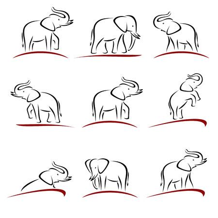 Olifant in te stellen. dier geïsoleerd illustratie Vector Illustratie